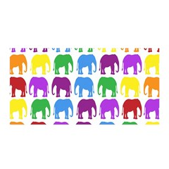 Rainbow Colors Bright Colorful Elephants Wallpaper Background Satin Wrap by Simbadda