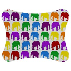 Rainbow Colors Bright Colorful Elephants Wallpaper Background Jigsaw Puzzle Photo Stand (bow) by Simbadda
