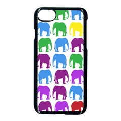 Rainbow Colors Bright Colorful Elephants Wallpaper Background Apple Iphone 7 Seamless Case (black)