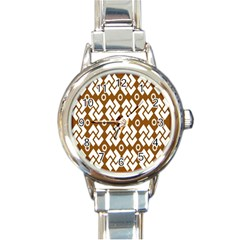 Art Abstract Background Pattern Round Italian Charm Watch by Simbadda