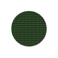 Clovers On Black Magnet 3  (round) by PhotoNOLA