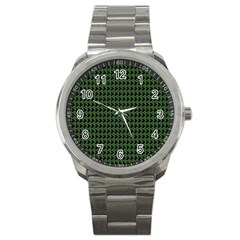 Clovers On Black Sport Metal Watch by PhotoNOLA