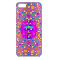 Colors And Wonderful Flowers On A Meadow Apple Seamless Iphone 5 Case (clear) by pepitasart