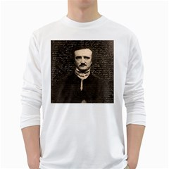 Edgar Allan Poe  White Long Sleeve T Shirts by Valentinaart