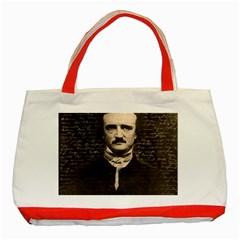 Edgar Allan Poe  Classic Tote Bag (red) by Valentinaart