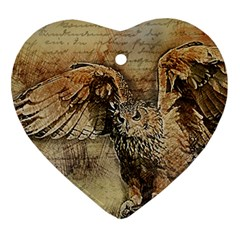 Vintage Owl Heart Ornament (two Sides) by Valentinaart