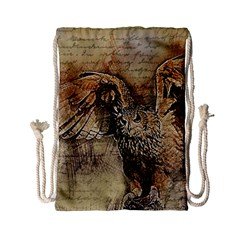 Vintage Owl Drawstring Bag (small) by Valentinaart