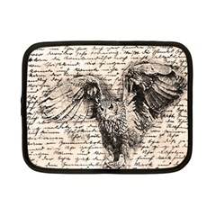 Vintage Owl Netbook Case (small)  by Valentinaart