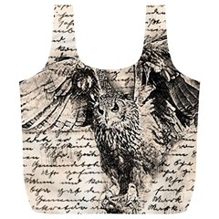 Vintage Owl Full Print Recycle Bags (l)  by Valentinaart