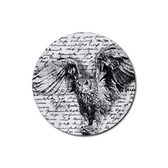 Vintage Owl Rubber Round Coaster (4 Pack)