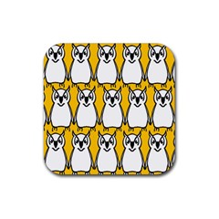 Yellow Owl Background Rubber Square Coaster (4 Pack)