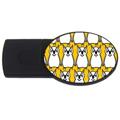 Yellow Owl Background Usb Flash Drive Oval (4 Gb)