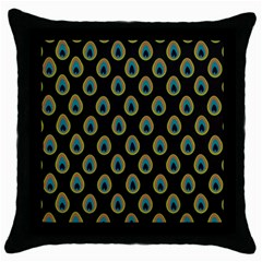 Peacock Inspired Background Throw Pillow Case (black) by Simbadda