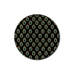 Peacock Inspired Background Rubber Coaster (round)  by Simbadda