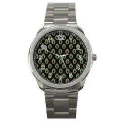 Peacock Inspired Background Sport Metal Watch by Simbadda