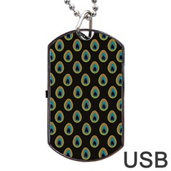 Peacock Inspired Background Dog Tag Usb Flash (one Side) by Simbadda