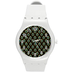 Peacock Inspired Background Round Plastic Sport Watch (m) by Simbadda