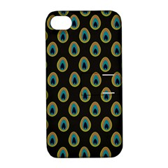 Peacock Inspired Background Apple Iphone 4/4s Hardshell Case With Stand by Simbadda
