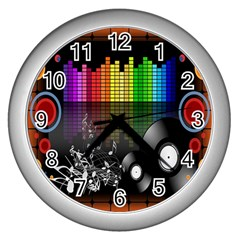 Music Pattern Wall Clocks (silver)  by Simbadda