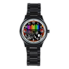 Music Pattern Stainless Steel Round Watch by Simbadda