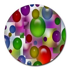 Colorful Bubbles Squares Background Round Mousepads by Simbadda