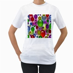 Colorful Bubbles Squares Background Women s T-shirt (white) (two Sided) by Simbadda