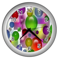 Colorful Bubbles Squares Background Wall Clocks (silver)