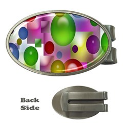 Colorful Bubbles Squares Background Money Clips (oval)  by Simbadda