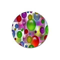 Colorful Bubbles Squares Background Magnet 3  (round) by Simbadda