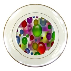 Colorful Bubbles Squares Background Porcelain Plates by Simbadda