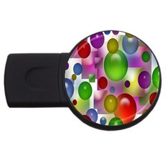 Colorful Bubbles Squares Background Usb Flash Drive Round (4 Gb) by Simbadda