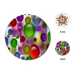 Colorful Bubbles Squares Background Playing Cards (round)  by Simbadda