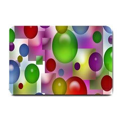 Colorful Bubbles Squares Background Small Doormat  by Simbadda