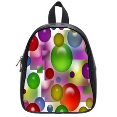 Colorful Bubbles Squares Background School Bags (small)  by Simbadda