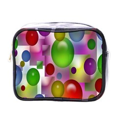 Colorful Bubbles Squares Background Mini Toiletries Bags by Simbadda