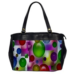 Colorful Bubbles Squares Background Office Handbags by Simbadda