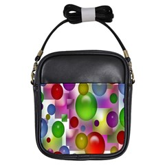 Colorful Bubbles Squares Background Girls Sling Bags by Simbadda
