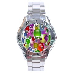 Colorful Bubbles Squares Background Stainless Steel Analogue Watch by Simbadda