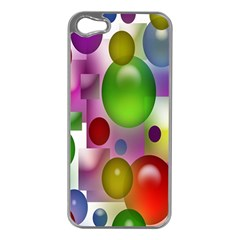 Colorful Bubbles Squares Background Apple Iphone 5 Case (silver) by Simbadda