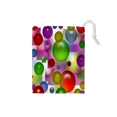 Colorful Bubbles Squares Background Drawstring Pouches (small)