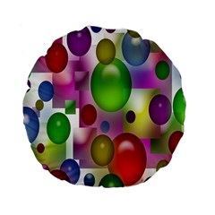 Colorful Bubbles Squares Background Standard 15  Premium Flano Round Cushions by Simbadda
