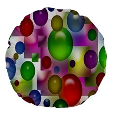 Colorful Bubbles Squares Background Large 18  Premium Flano Round Cushions by Simbadda