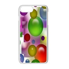 Colorful Bubbles Squares Background Apple Iphone 7 Plus White Seamless Case by Simbadda