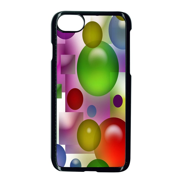 Colorful Bubbles Squares Background Apple iPhone 7 Seamless Case (Black)