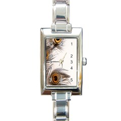 Peacock Feathery Background Rectangle Italian Charm Watch by Simbadda