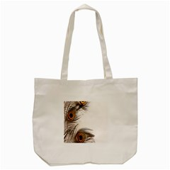 Peacock Feathery Background Tote Bag (cream) by Simbadda