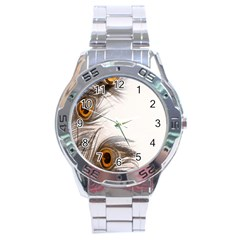 Peacock Feathery Background Stainless Steel Analogue Watch by Simbadda