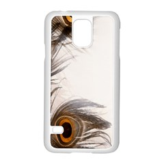 Peacock Feathery Background Samsung Galaxy S5 Case (white) by Simbadda