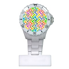 Abstract Pattern Colorful Wallpaper Plastic Nurses Watch
