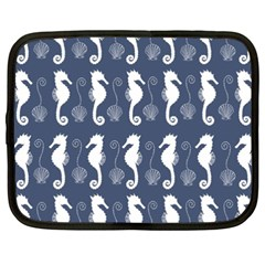Seahorse And Shell Pattern Netbook Case (xxl)  by Simbadda